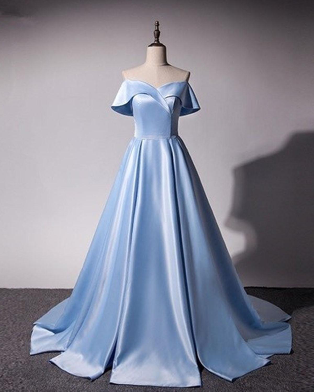 0722aa8bbf0c Fresh blue satin strapless A-line long sweet 16 prom dress