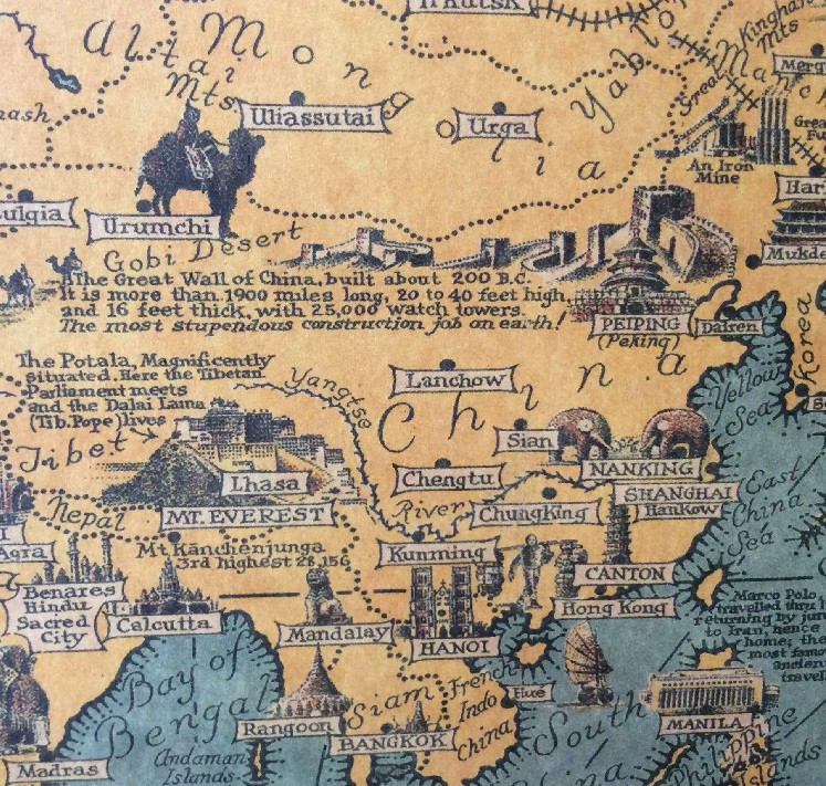 World wonders a pictorial map vintage style retro paper poster home file 3f9edf0ca7 small gumiabroncs Image collections