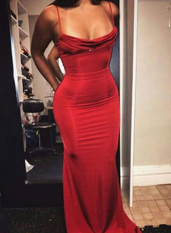 Sexy Mermaid Spaghetti Straps Red Satin Long Prom Evening Dress on ... 0f335f53c