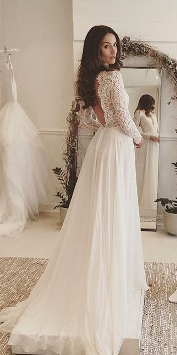 Elegant White Lace Long Sleeves V Neck V Back Sexy Wedding Dressbeautiful Chiffon Bridal Gown