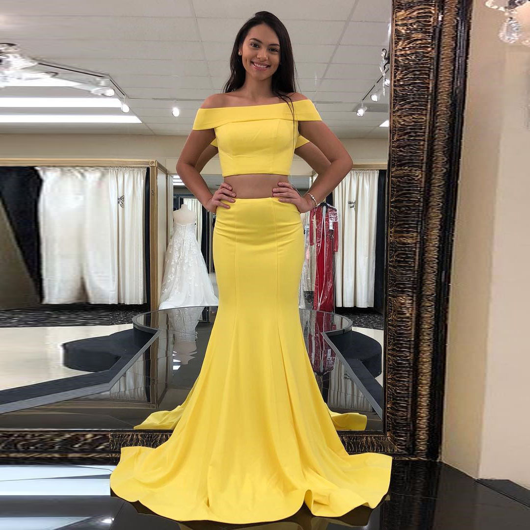 d3e16832315da Yellow Off The Shoulder Prom Dress Two Piece Mermaid Formal Gown ...