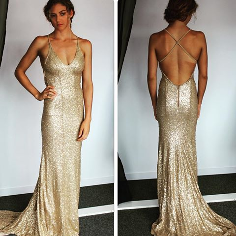 Champagne Sequin Prom Dress