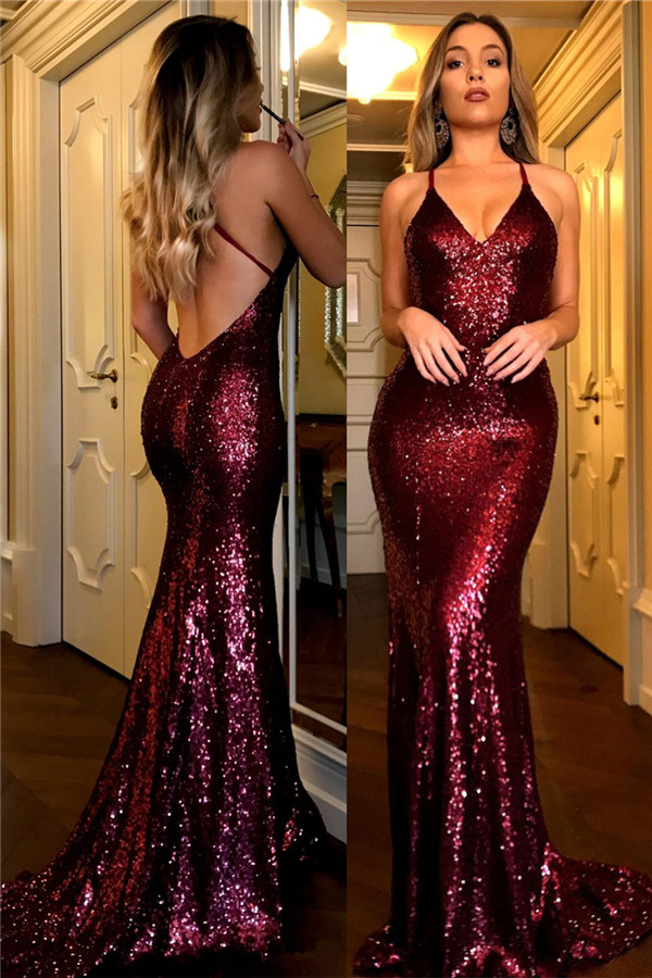 a6b594e279c Sexy Sequined Prom Dresses