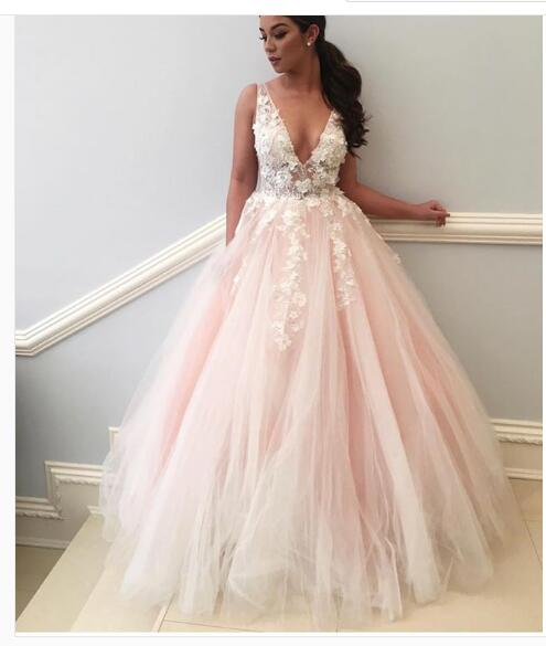 c1d7a4e1148b Sexy Pale Pink Prom Dress, Deep V-neck Prom Dress, with Flowers Tulle