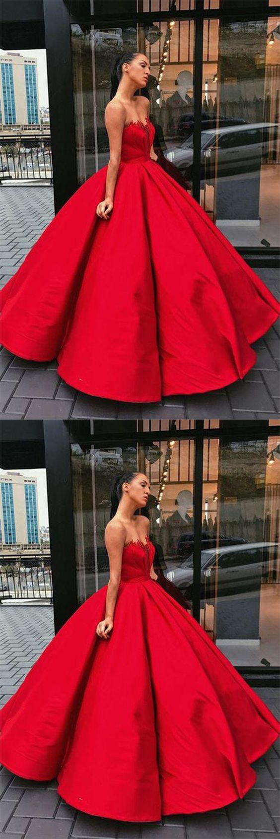 Charming Prom Dress,Red Prom Dresses,Ball Gown Prom Dress,Satin Prom ...