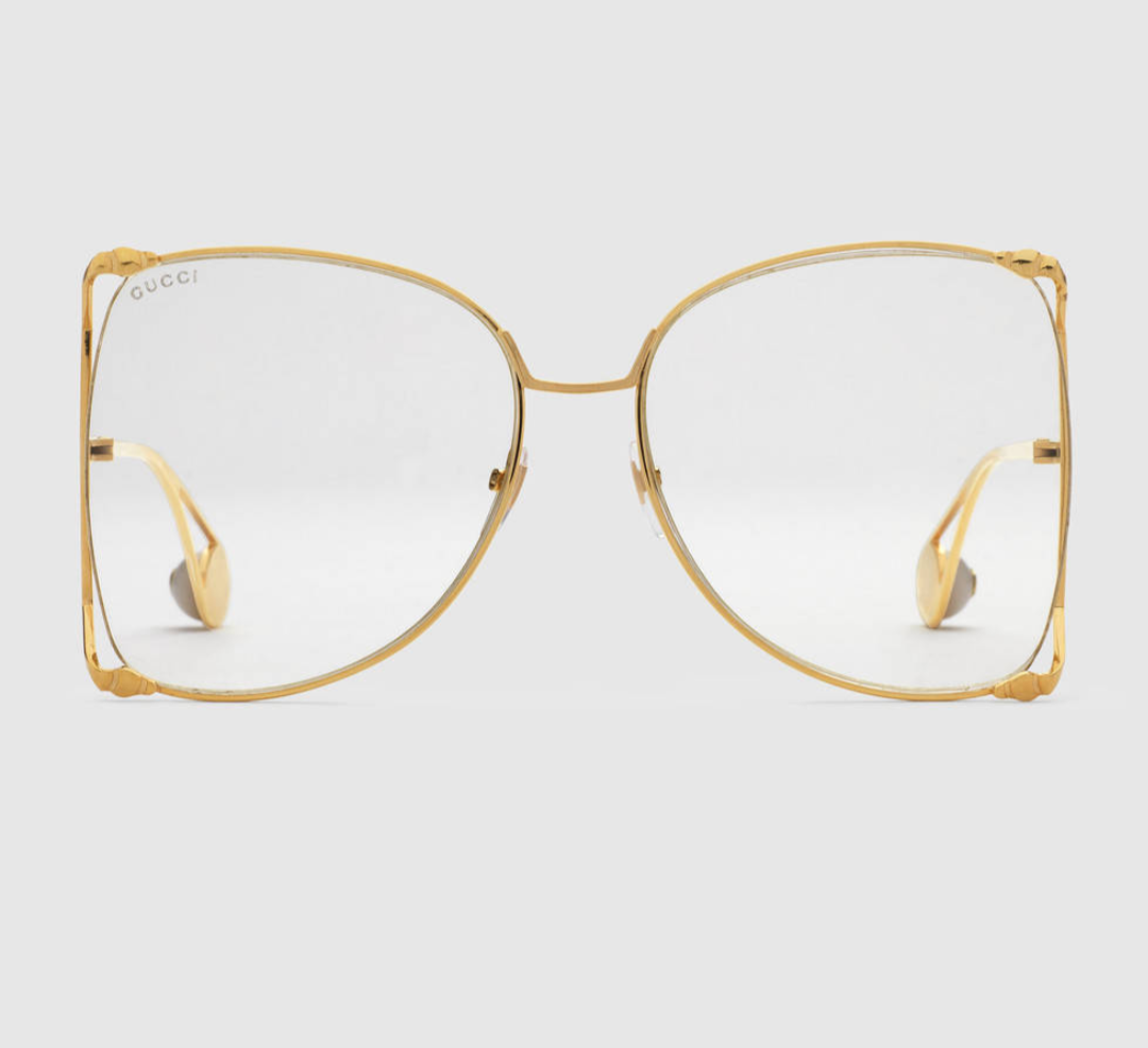 Well known Gucci Oversized Round Frame Metal Glasses · Charlie's Closet  JR52