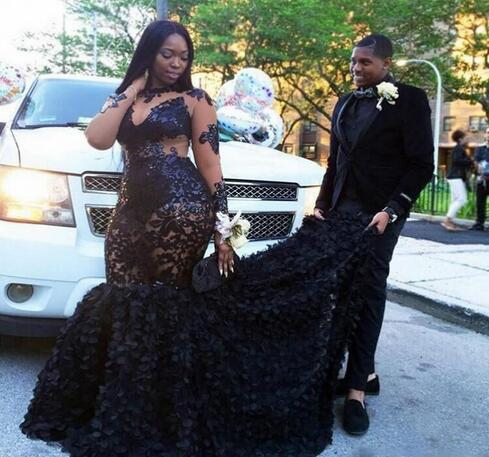 cc0f4c408f83 2018 African Plus Size Prom Dresses Long Appliques Sheer Neckline Mermaid Evening  Gowns Sleeves Tiered Black ...