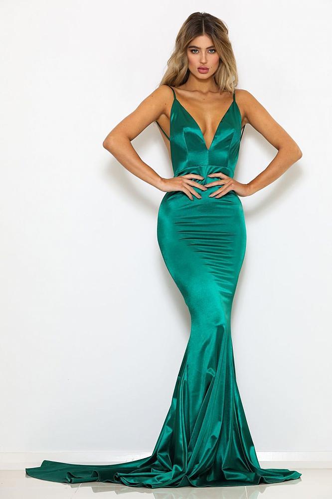 2018 Sexy Hunter Green Prom Dress Deep V Neck Prom Dress Backless
