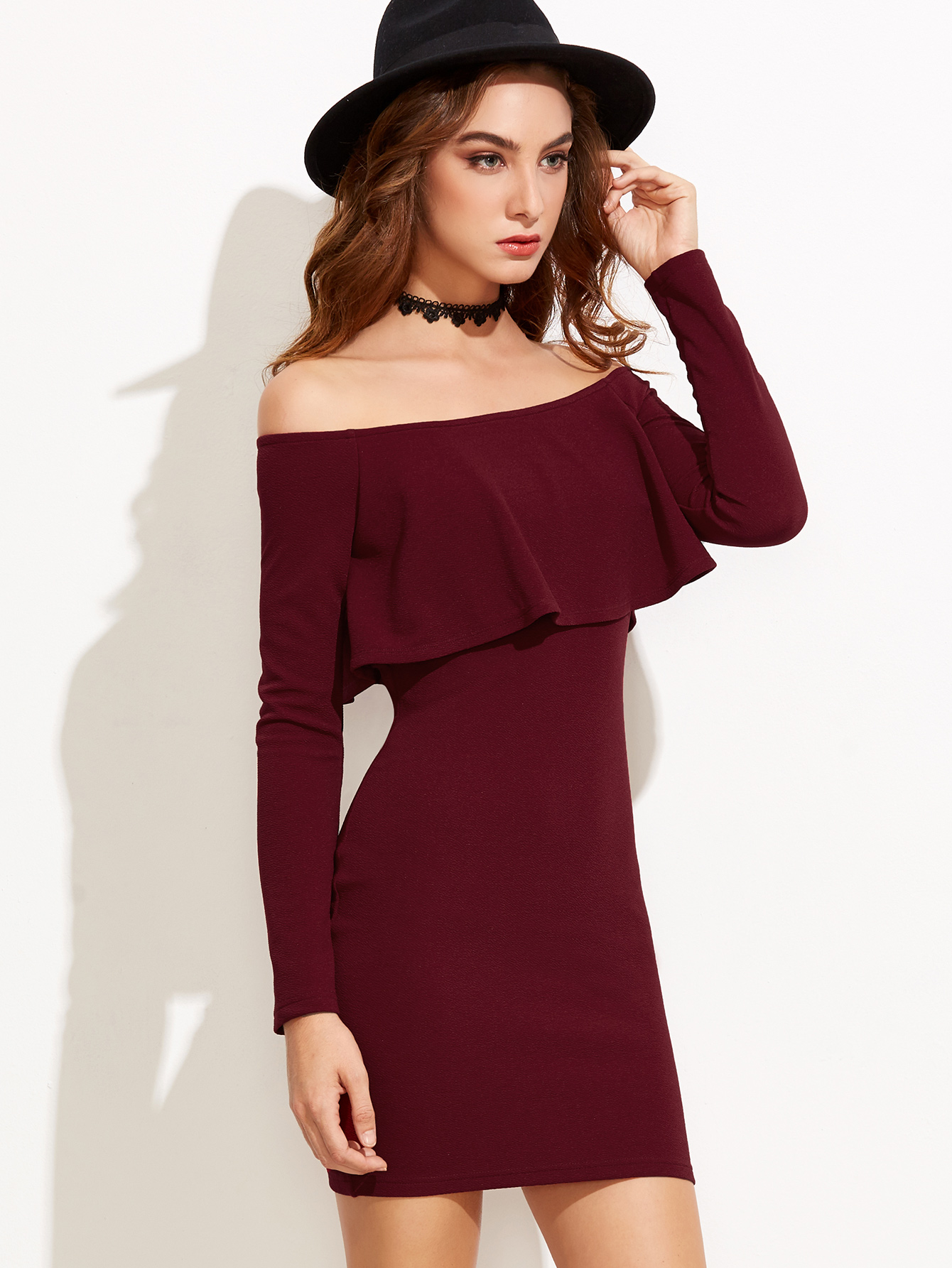 ae85fb8dc799 Women s Burgundy Mini Dress Ruffle Off Shoulder Bodycon Outfit Long Sleeve  XS-L - Thumbnail ...