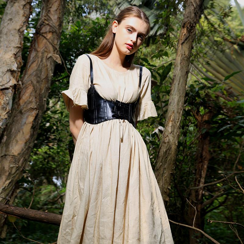 Pirates Of The Caribbean Black Corsage Beige Ramie Dress Astride