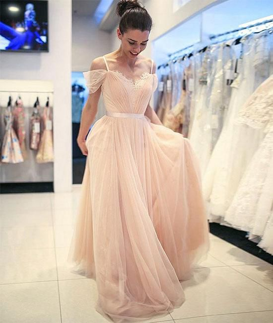 Light Pink Tulle Lace Long Prom Dress Evening Dress Dream