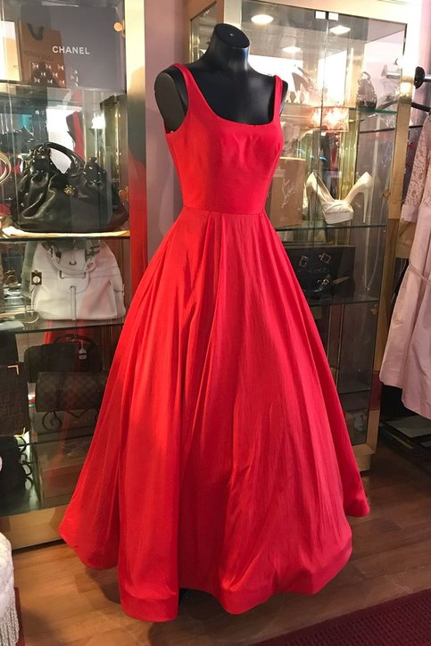 Simple A Line Square Neck Red Satin Tea Length Prom