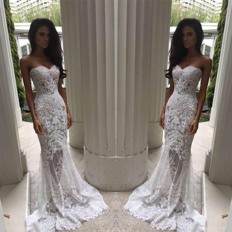 Fashion Mermaid Strapless White Long Wedding Dress From Halundress