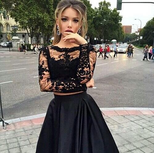2017 Prom Dresses Long Sleeve Lace Prom Dresses See Through Prom