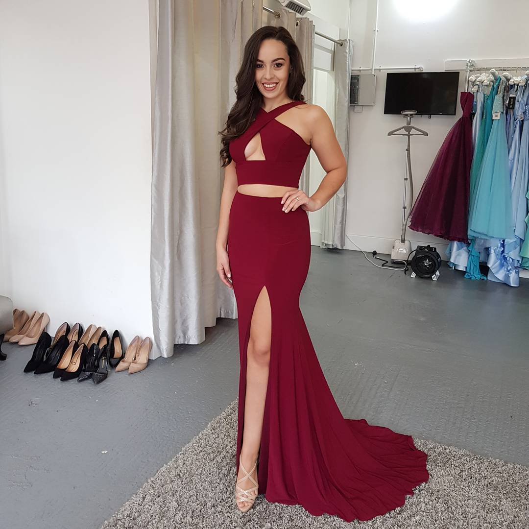 1a01a6a965e1 Sexy Two Piece Halter Burgundy Mermaid Long Evening Dress with Side Slit