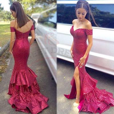 86b8e14027e5 Elegant off the shoulder mermaid long sequins prom dress evnieng dress with  side slit