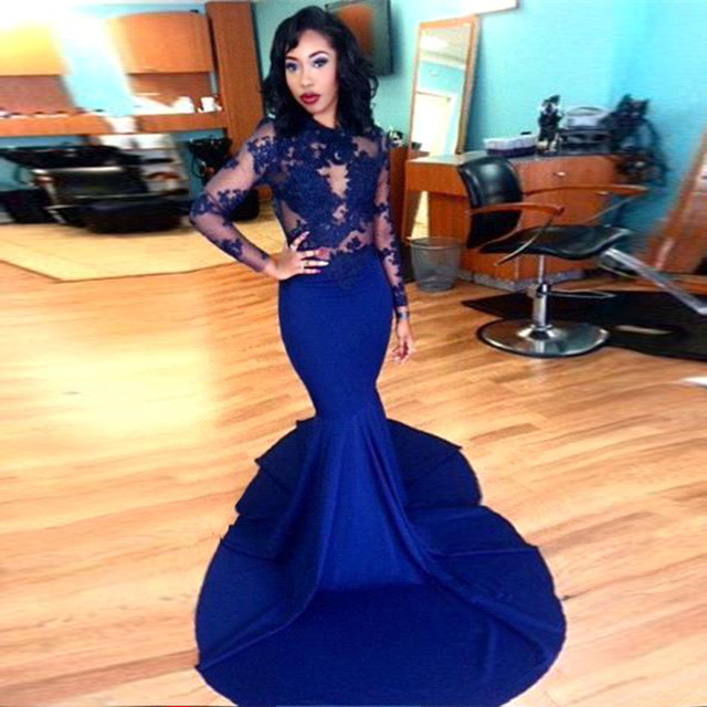 Long Sleeve Prom Dresses 2018 Spandex O Neckline Royal Blue Long