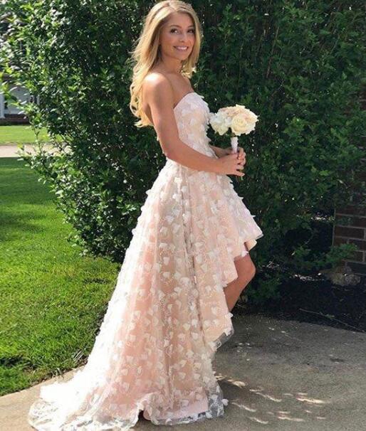 High Low Wedding Dresses.Elegant Strapless Hi Low Wedding Dresses From Dressydances