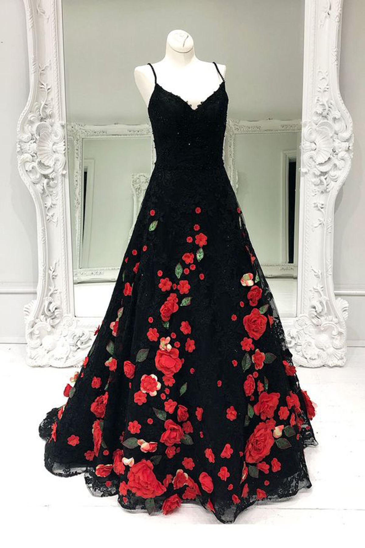 94cf1ef091ab Gorgeous black flower lace long customize prom dress, black evening dress