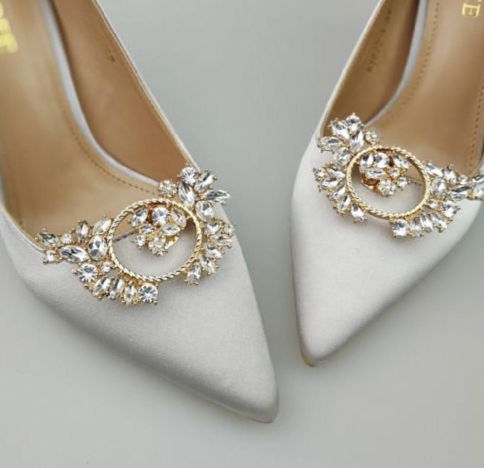 4992042d44 Rhinestone Crystal Bridal Shoes Decoration Wedding Gold Silver Shoe Clips