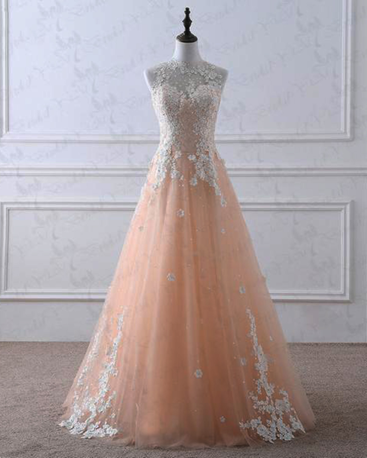0a508fb508 Elegant champagne tulle O neck long formal prom dress with white lace  appliqués