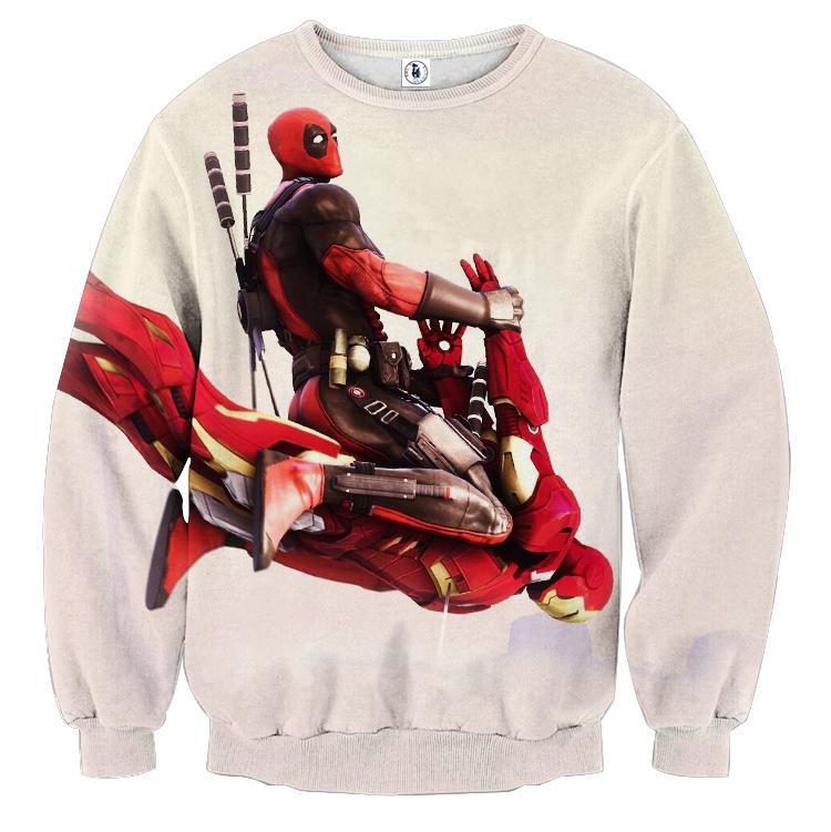 Funny Deadpool Riding Iron Man Meme Style 3D Print Sweatshirt sold by  Superheroes Gears