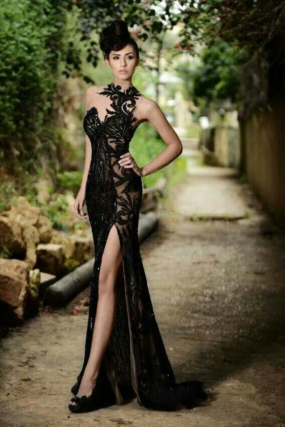 High Neck Black Mermaid Prom Dresses High Slit Applique Bling Bling