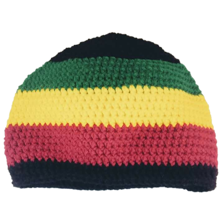74ab08fdd6072 Crochet Hat in black rasta stripe acrylic on Storenvy