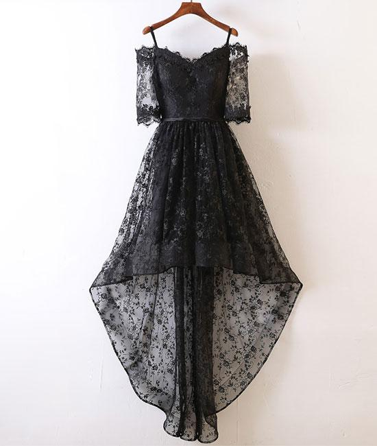 1c8f5bdb0c98 A-Line Off-Shoulder Black Lace High Low Prom Homecoming Dress ...