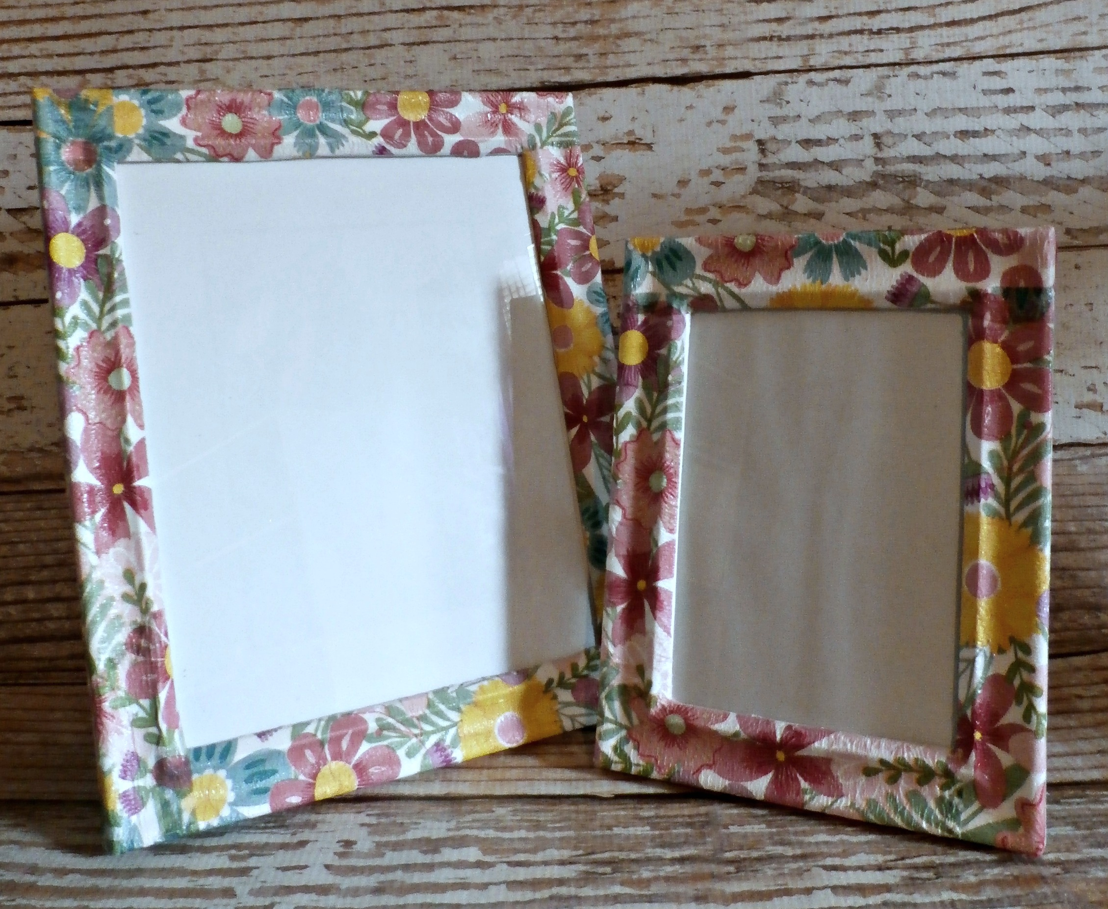 Picture Frames Set of 2 , Flower Power Decoupage Acrylic Picture Frames  from Mrs. Miller\u0027s Gift Shop