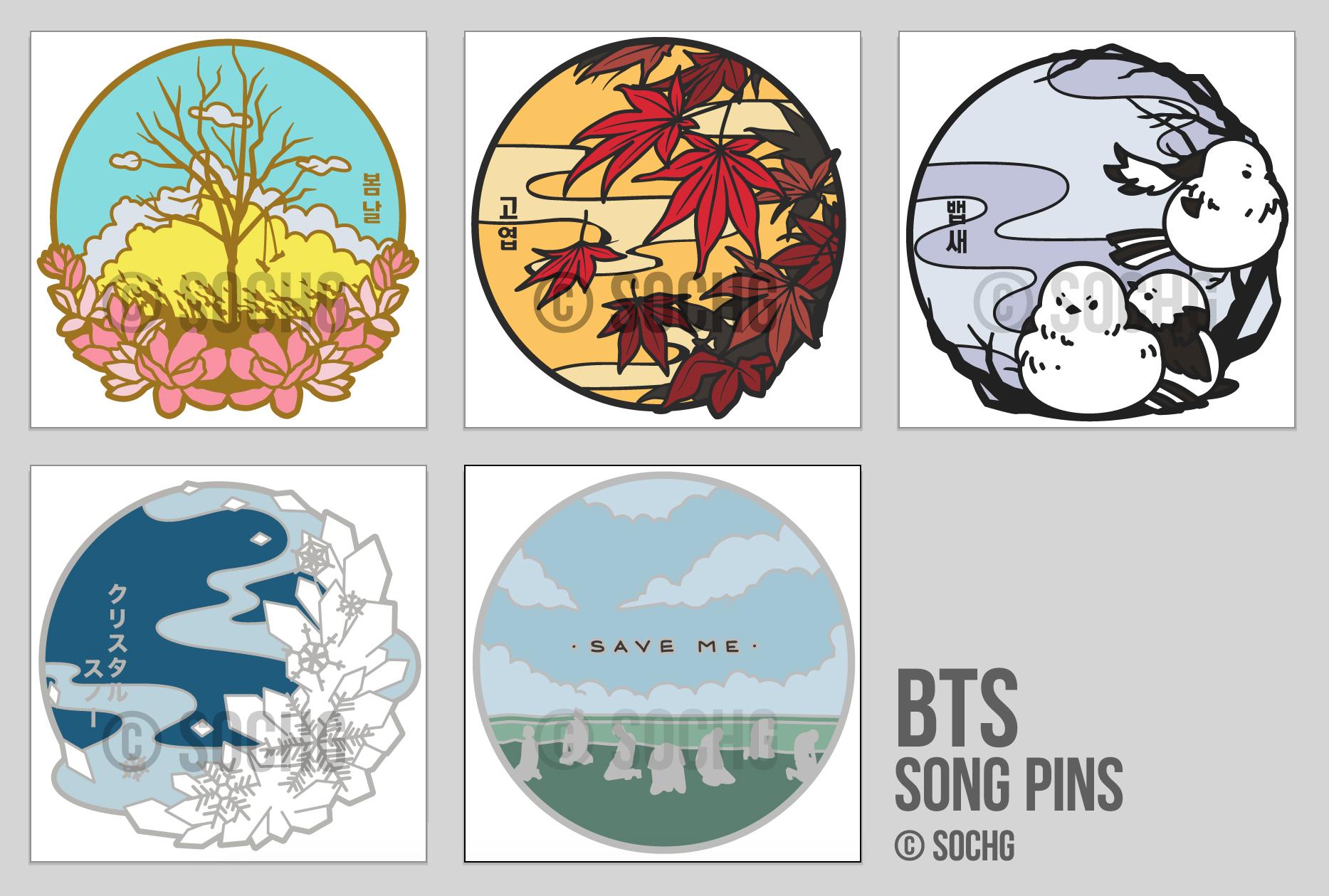 BTS / Songs Enamel Pins sold by [SoChg CHIBICHAINS]
