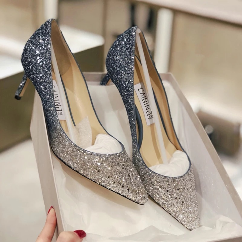 a70637ba09e0 Sparkly Crystal Silver Blue Gradient High Heels Wedding Party Shoes ...