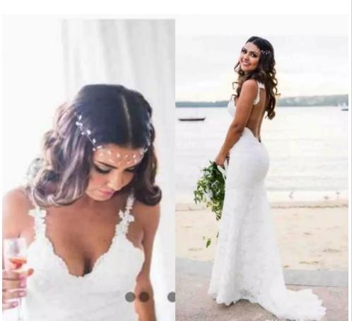 9d7de82238665 2018 New Cheap Bohemian Wedding Dresses Novia Sexy Mermaid Spaghetti Straps  Floor Length Backless Full Lace ...