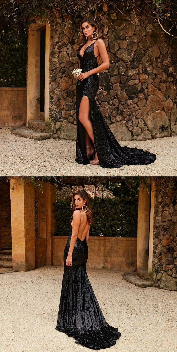 a41a2338521 Mermaid Deep V Neck Backless Black Sequin Prom Dress · flordabridal ...