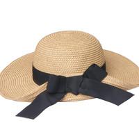 2338ed1f9 Womens Big Black Satin Bowknot Wide Brim Floppy Straw Beach Sunhade Hat for  Summer Foldable from Mia & Fiona