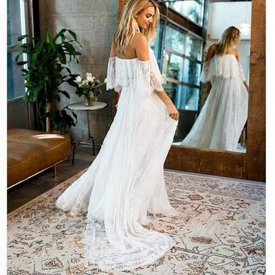0808a11cd1 Lace boho wedding dress, v-neck lace wedding dress, long wedding dresses  bridal