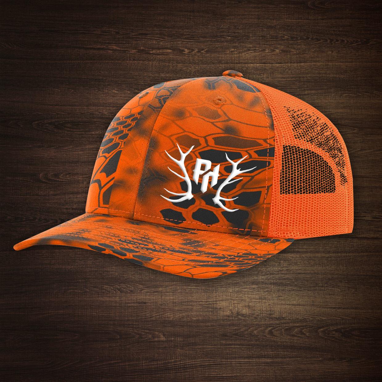 Mesh Blaze Orange hat with Kryptek camouflage on Storenvy 5fff13ebf32