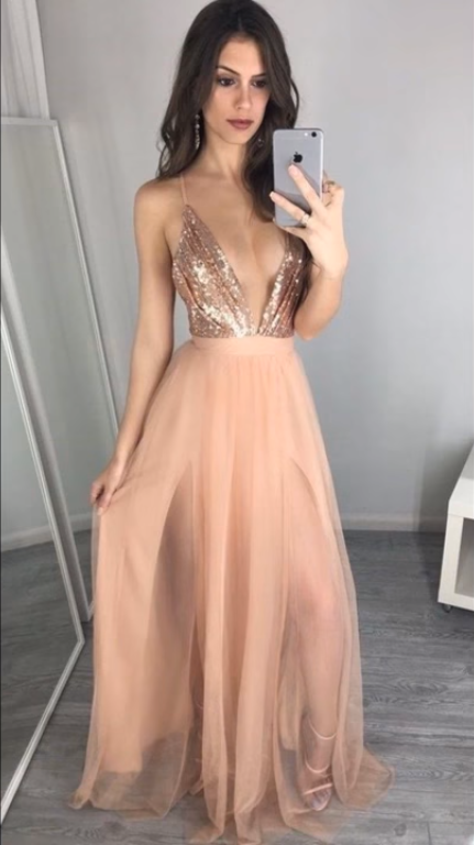 Sparkly Rose Gold Long Prom Dress Sexy Spaghetti Straps Sequins V ... 6801d4d1827b