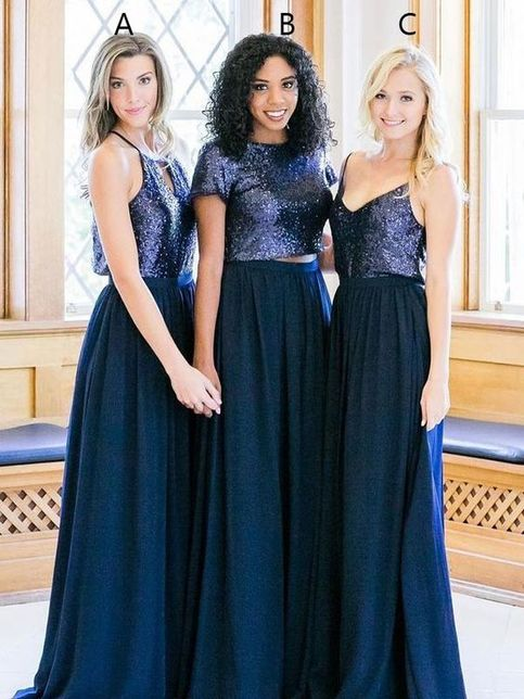 Navy Blue Sequined Two Piece Bridesmaid Dresses Spaghetti
