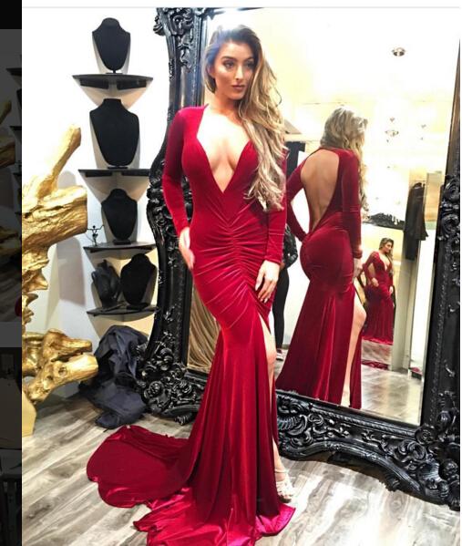 644b7250410aa Simple Long Mermaid Prom Dress Sexy Deep V Neck Front Slit Long ...