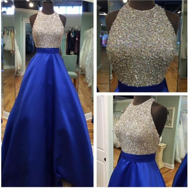 Ball Gown Prom Dresses,New Fashions Glitter Royal Blue Prom Dress ...