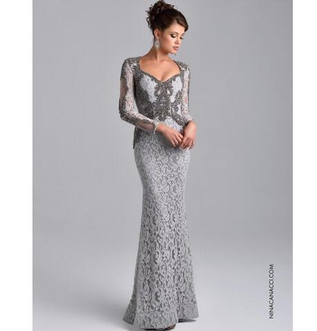 Elegant Long Sleeve Mother of Bride Dress Formal Evening Dresses 2018 Full  Beaded Lace Sheath Long ae558b6364e2