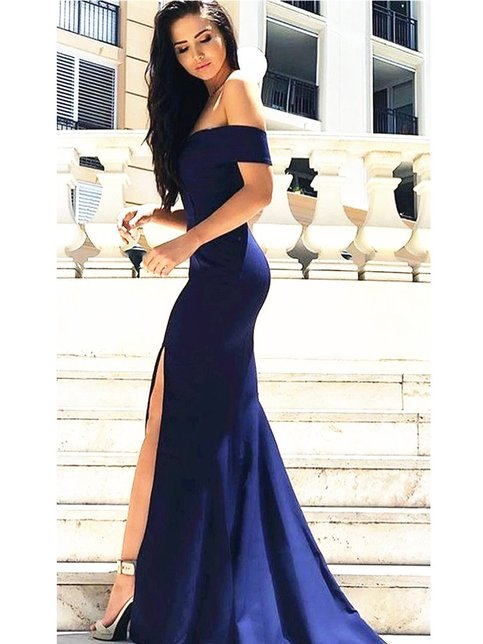 Custom Made Off Shoulder Navy Blue Prom Dress With Slit
