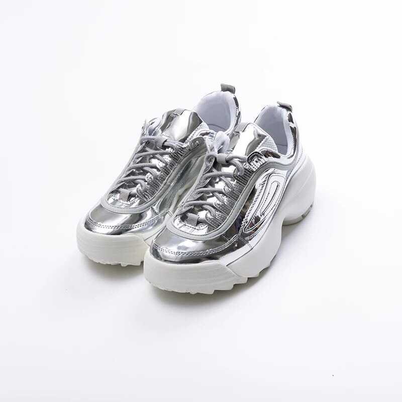 e694ddb3dfb Women Metallic White Silver Platform Chunky PU Vegan Leather dad ...