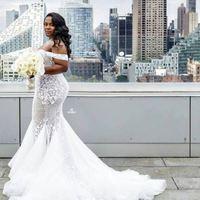 Plus Size Summer Wedding Dresses Mermaid Lace Off Shoulder Beach Wedding  Dresses from MissZhu Bridal