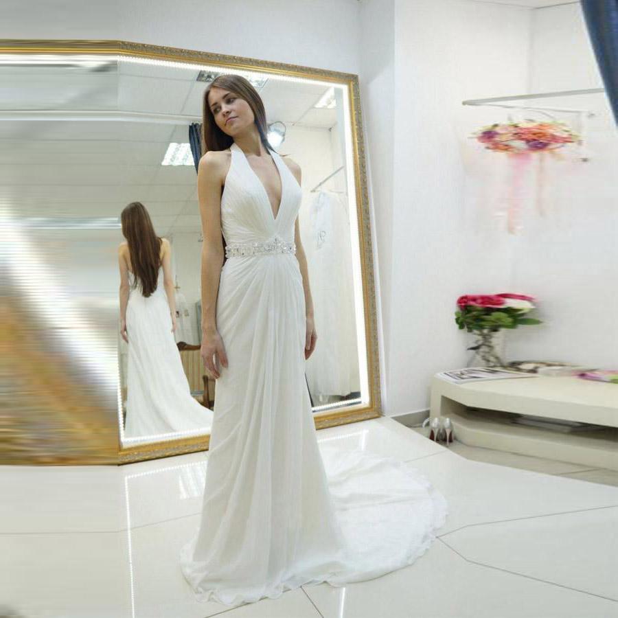 bacbe19100 Ivory Deep V Neck Prom Dress Chiffon Long Formal Gown For Beach Wedding