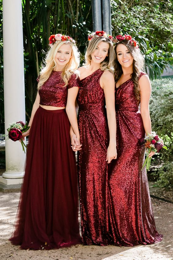 94893c8dd0 2018 Burgundy Bridesmaid Dress