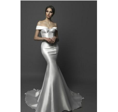 358717683b61d Off The Shoulder Mermaid Wedding Dresses Satin Sweep Train Sleeveless Sexy  Bohemian Bridal Dress Backless Plus