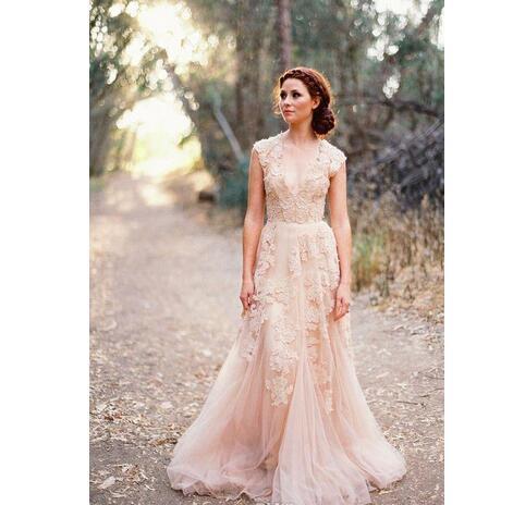 6035adfa752f8 Blush Pink Lace Applique Tulle Sheer Wedding Dresses 2018 Summer ...