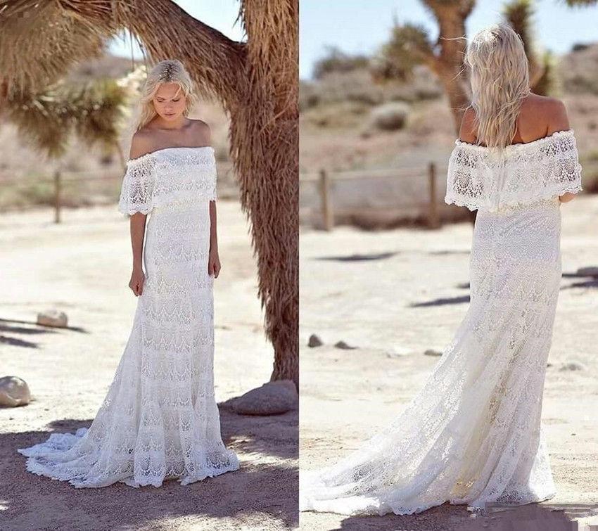 Hippie Wedding Dresses.2019 Lace Bohemian Wedding Dresses Off Shoulder Boho Hippie Bridal Wedding Gowns From Misszhu Bridal